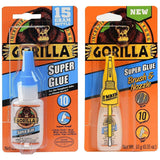 Gorilla 15 g Super Glue #7805001 and 10 g Super Glue with Brush & Nozzle Applicator #7500101 Combo Pack - AutoCareParts.com