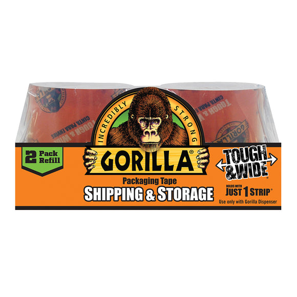 Gorilla Glue Heavy Duty Packaging Tape Tough and Wide 2-Refill Pack #6030402, 2.83