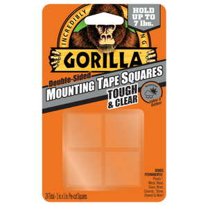 "Gorilla Tough & Clear Mounting Tape #6067201, 1"" x 1"" Pre-Cut Squares - AutoCareParts.com"