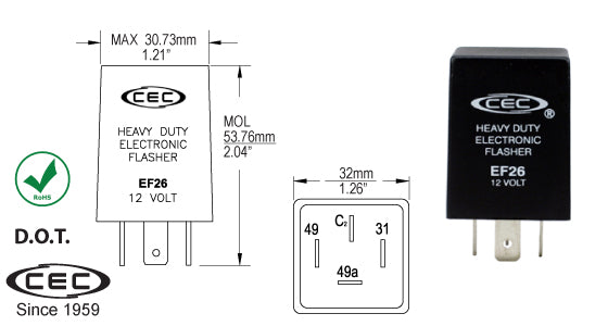 CEC Electronic Flasher #EF26 - AutoCareParts.com