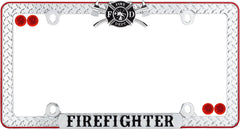 Cruiser Accessories 30936 Chrome/Black/Red Firefighter License Plate Frame with Fastener Caps