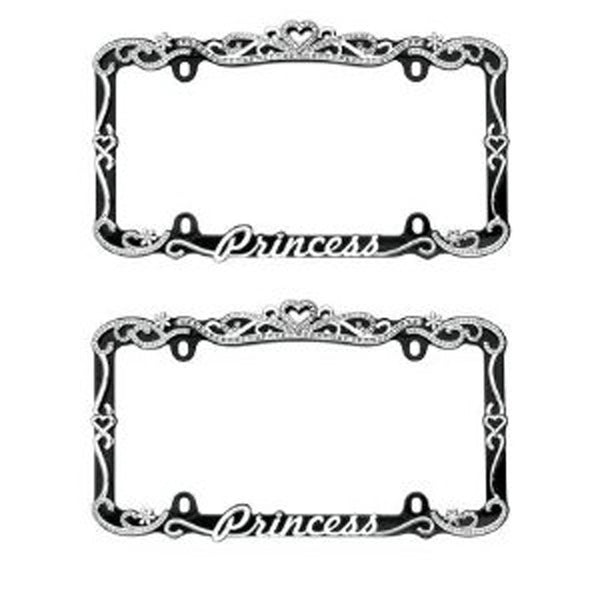 Silver and Black Princess Crystal Rhinestone Stainless Steel License Plate Frame (2 Frames)