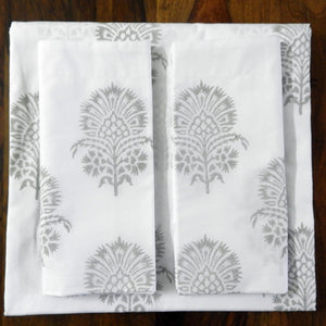 "Love For White Bed Sheet - Hand Block Printed ""Hibiscus"""