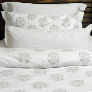 "Love For White Duvet/Quilt Cover - Hand Block Printed ""Hibiscus"""