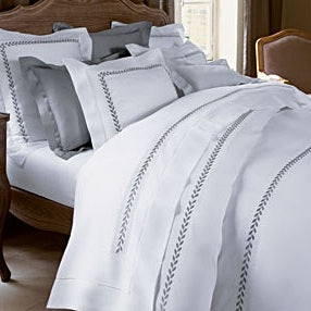 "Love For White Bed Sheet - 300TC Embroidered ""Fern"""