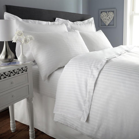 Love For White Bed Sheet - 300TC Satin Stripes
