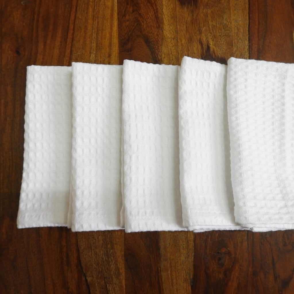 Love For White Face Towel Set of 5 - Quick Dry Waffle