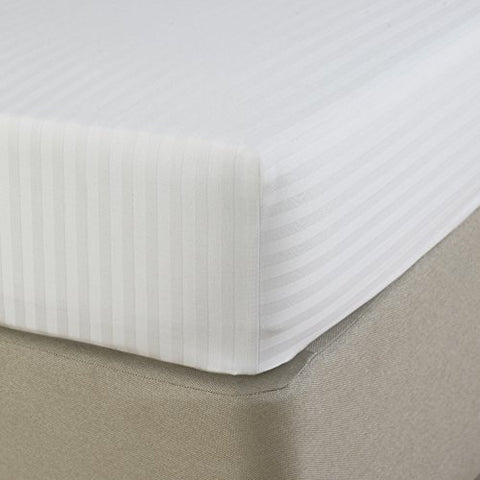 Love For White Fitted Sheet - 300TC Satin Stripes