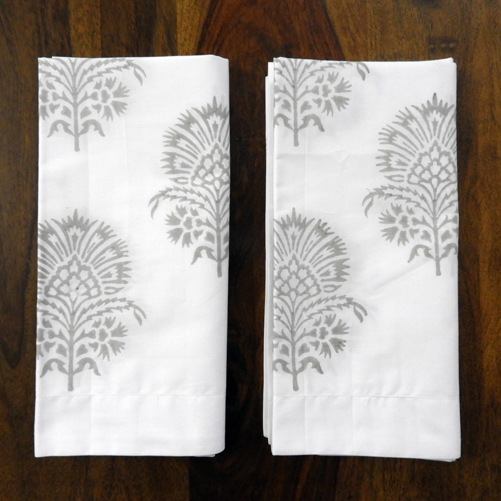 "Love for White Pillow Covers Set of 2 - Hand Block Printed ""Hibiscus"""