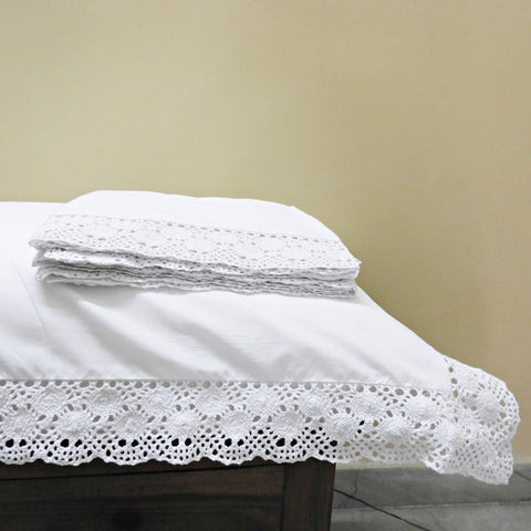 Love For White Pillow Covers Set of 2 - 200TC Crochet Border