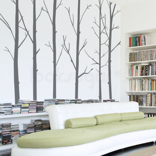6 x WINTER TREE WALL DECALS