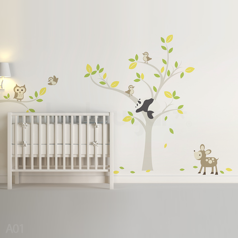 FOREST ANIMALS WALL DECAL - OWL . PANDA . DEER . BIRDS .