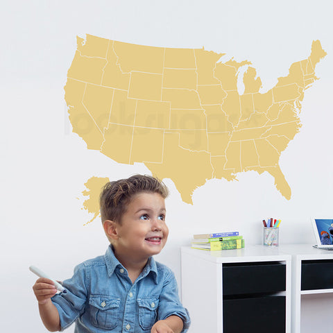 Light Yellow USA Map Decal