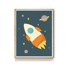 OUTER SPACE NURSERY ART PRINT - ROCKET