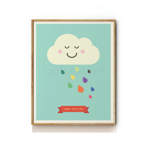 HAPPY RAINY DAY - NURSERY ART PRINT