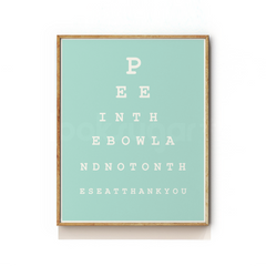 BATHROOM EYE CHART ART PRINT - GENTS VERSION
