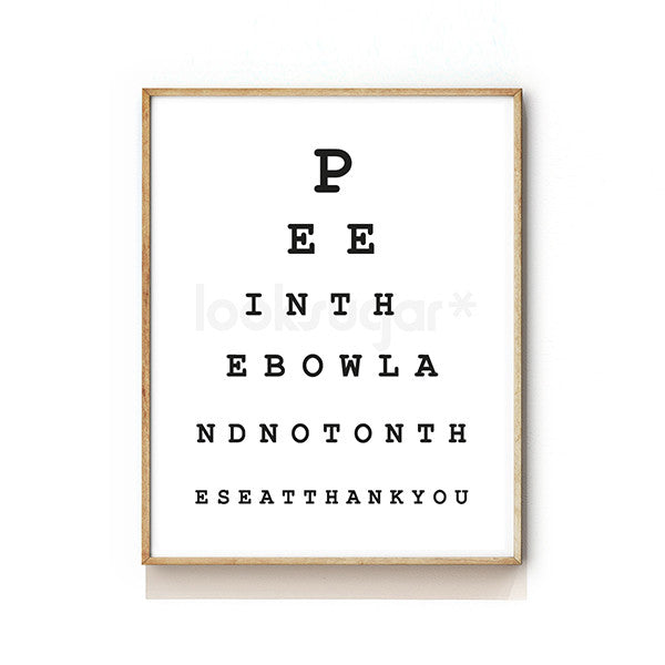image regarding Printable Snellen Charts called Rest room EYE CHART Artwork PRINT - GENTS Edition