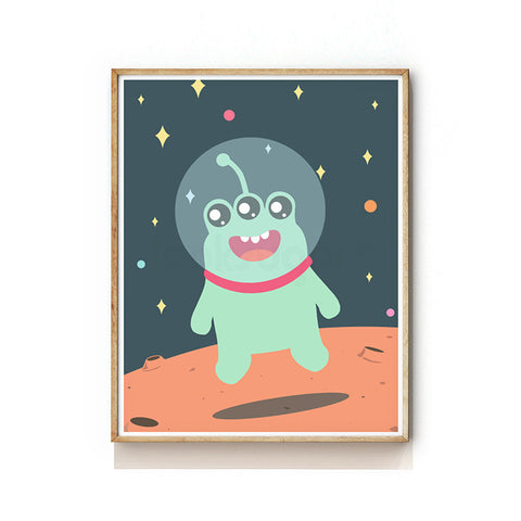 OUTER SPACE NURSERY ART PRINT - ALIEN