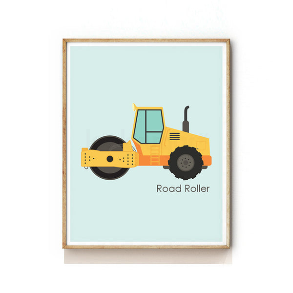 CONSTRUCTION VEHICLE NURSERY ART PRINT - ROAD ROLLER