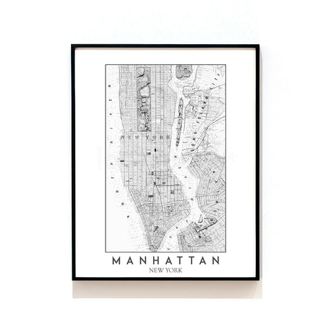 MANHATTAN - NEW YORK MAP ART PRINT