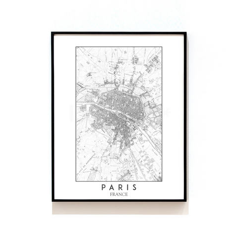 PARIS , FRANCE - MAP ART PRINT