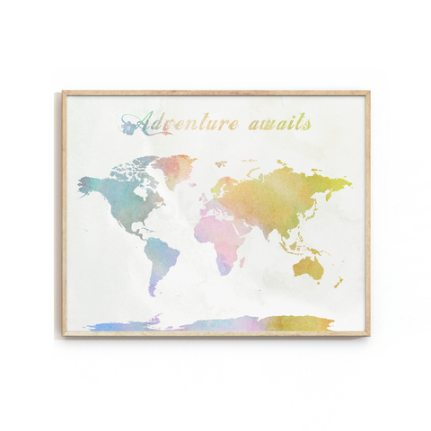 WORLD MAP ART PRINT - ADVENTURE AWAITS