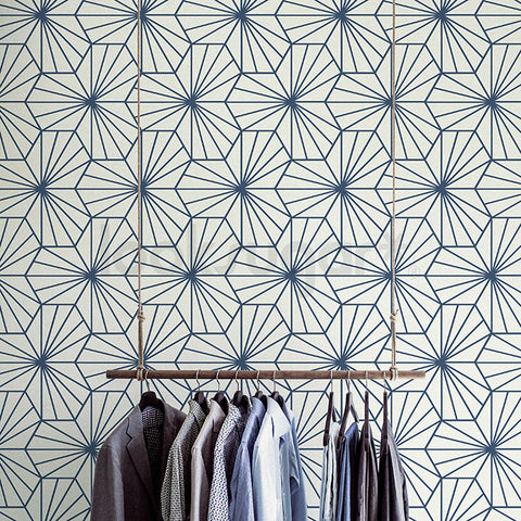 GEOMETRIC HEXAGON RAY PATTERN FABRIC WALLPAPER