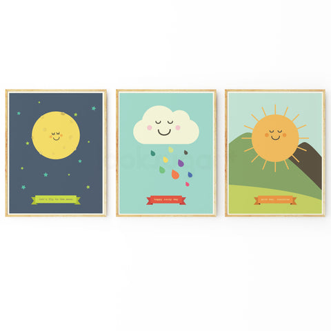 NATURE ART PRINT COLLECTION - MOON CLOUD SUN - SET OF 3