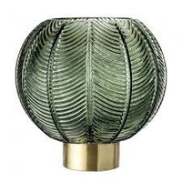 Bloomingville Green Leaf Patterned Glass Vase