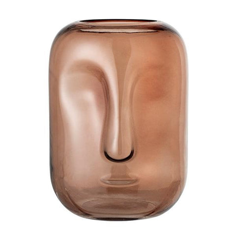 Brown Glass Vase / Face