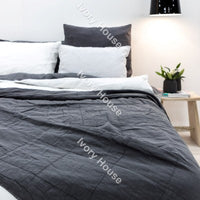 Bedspread - Charcoal Check (W180xD240cm)