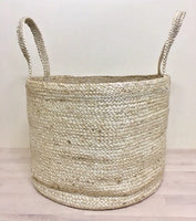 Doormat Design Jute Storage Basket with Handles- Natural