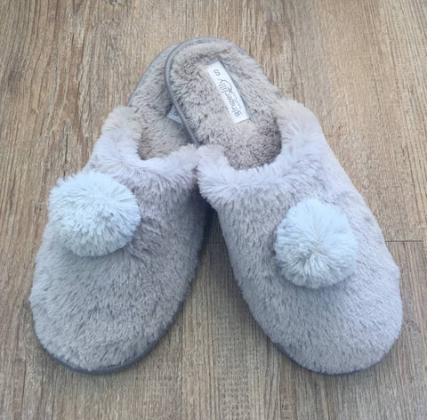 Grey Pom Pom Slippers