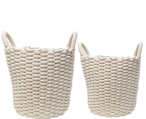 Martha Round Cotton Basket (White Rope)