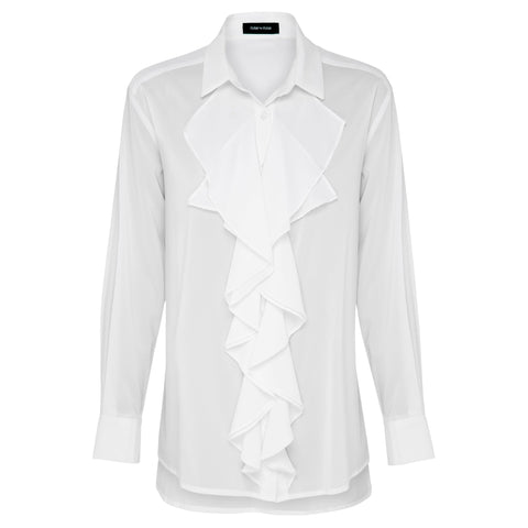 Cascading Meadow  Frill Front Shirt (White)