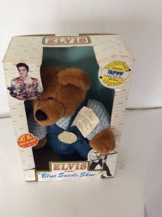 "Rare Taipow Elvis Presley Teddy Bear Legends Sings ""Blue Suede Shoes"" With Box"