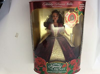 Disney Retired 1997 Holiday Princess Mattel BEAUTY AND THE BEAST BELLE Doll