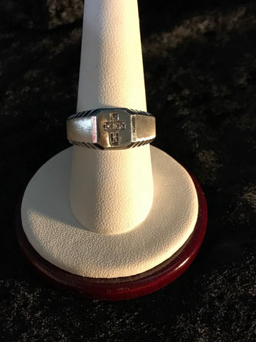 10K Diamond Cross Ring