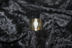 High Polished Wide Band Gold Diamond Ring