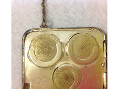 Vintage 1940's German Silver coin/dance purse with mirror & compact make-up pad compartment