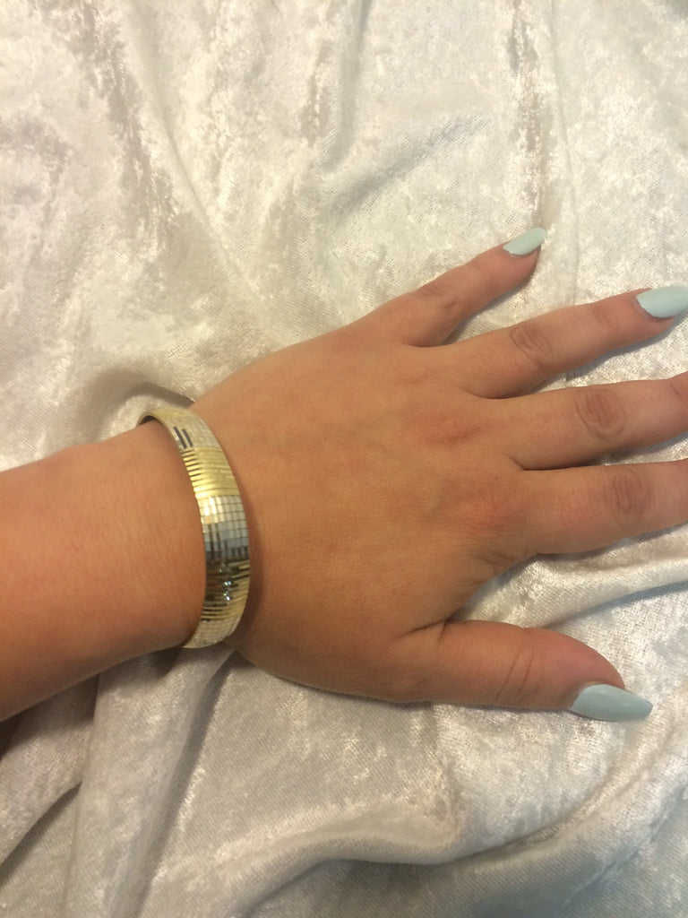 "Flex Bangle in Two-tone 10K Gold - 7.0"" White Gold & Yellow Gold"