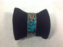 Sterling Silver Native American Cuff Bracelet with inlaid Coral and Turquoise