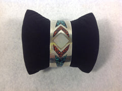 Sterling Silver Native American Cuff Bracelet with inlaid Coral, Turquoise and MOP