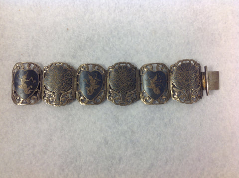Vintage Siam Wide Panel Bracelet with Dancing Goddesses and Peacocks