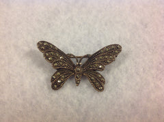 Vintage Butterfly Marcasite and Sterling Silver Brooch