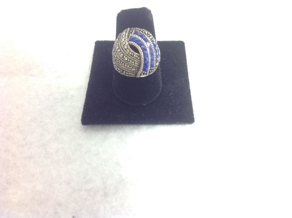 Vintage Sterling Silver Marcasite and Purple stone Ring