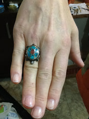 Sterling Silver Turtle Ring with Turquoise and Coral