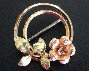 Vintage Krementz Gold Filled Rose Brooch Double Circle Pin 1950s Two Toned Gold with Detailed Leaves
