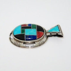 Carolyn Pollack Relios Sterling Silver Tribal Multi Colored Stone Oval Pendant