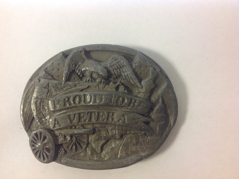 Silver Tone Metal Proud to be A Veteran Belt Buckle